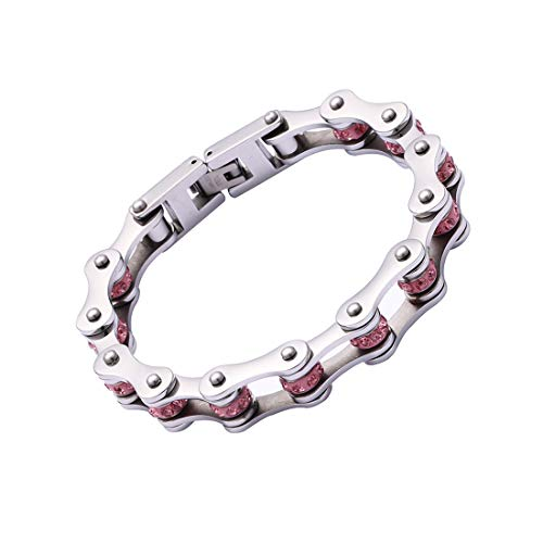 FATEMOONS Chain Bracelets for Women Men Stainless Steel Bike Link Rhinestones Wrist Chain, 7.87