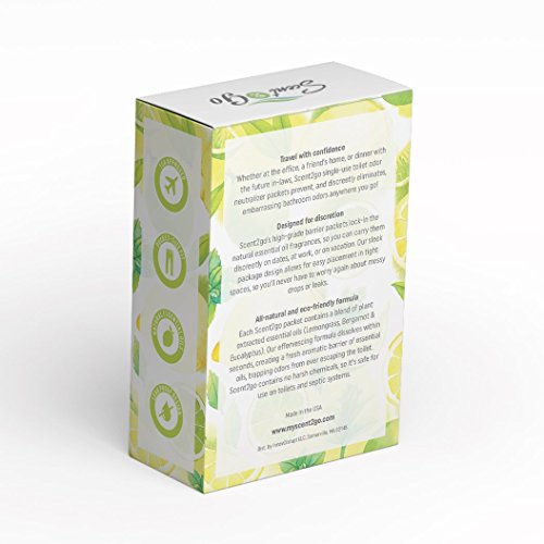 Scent2go Travel Toilet Fragrance Packets | Pockets & Wallet Size Fit Design | Discreet Bathroom Odor Eliminator | Made With Essential Oils | 10 Single-Use Packets