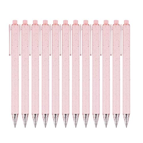 RIANCY Retractable Gel Pens Fine Points(0.5 mm) Black Ink Ballpoints Pen Black Gel Pens Quick Dry Ink Smooth Writing Pen for Office School (Pink)