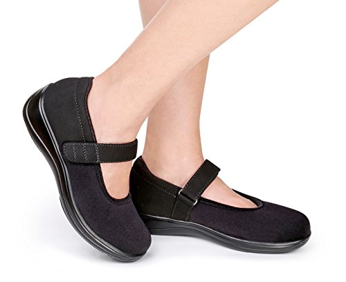 Orthofeet Springfield Womens Comfort Stretchable Orthopedic Orthotic Diabetic Mary Jane Shoes Black free shipping recommend ThGDo16t6