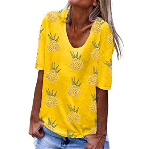Haalife◕‿Plus Size Short Sleeve Tops for Women Sunflower Printed T Shirts Womens Casual Short Sleeve Tees Yellow ()