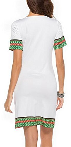 Short Women Print Dresses V Jaycargogo 1 African Bodycon Neck Sleeve Casual xHnZqwaqP