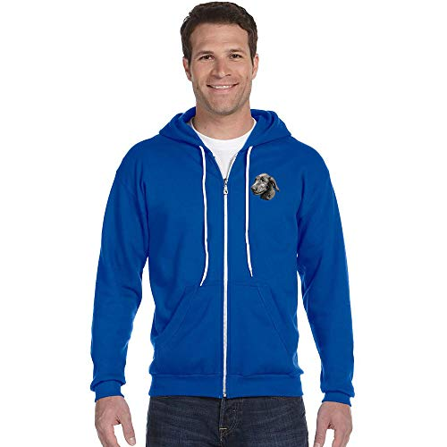 Cherrybrook Breed Embroidered Anvil Full Zip Menss Hoodie - Large - Royal Blue - Irish Wolfhound