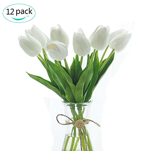 Artificial Tulips,Govine 12 heads Mini Tulip Real Touch Tulip Artificial Flowers Bouquets (White)