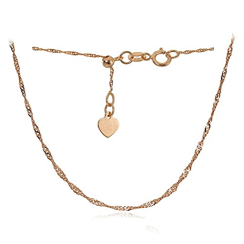 14K Rose Gold .9mm Singapore Adjustable Italian Chain Anklet, 9-11 Inches by Bria Lou