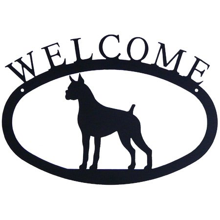 Modern Artisans Boxer Dog Welcome Sign, American Made Wrought Iron, 11.5