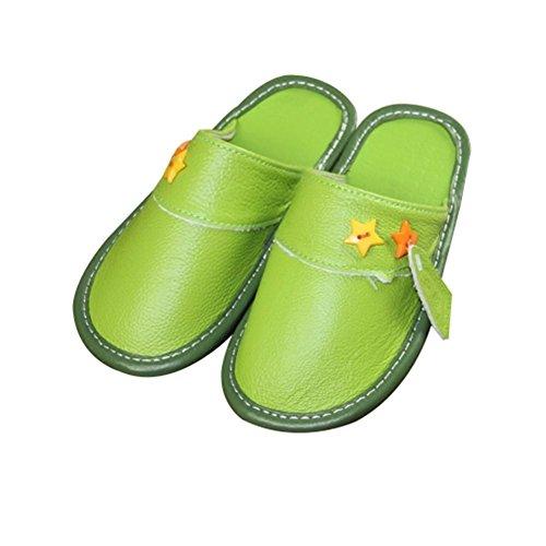 TELLW Niñas Niño Bebé Niños CASA De Cuero Cálido INVIERNO Dentro Lindo Zapatillas De Dibujos ANIMADOS Zapatos De INVIERNO Para Niños Grün