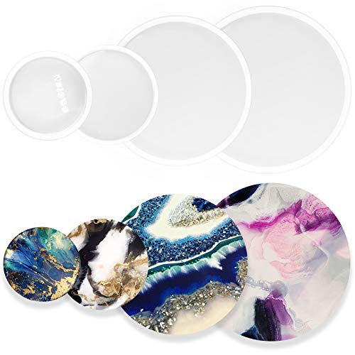 Funshowcase Assorted Round Coaster Resin Epoxy Silicone Molds 4-Bundle