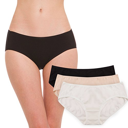 Hesta Women's Organic Cotton Basic Panties Underwear 3 Pack (SML, White/Black/Natural)