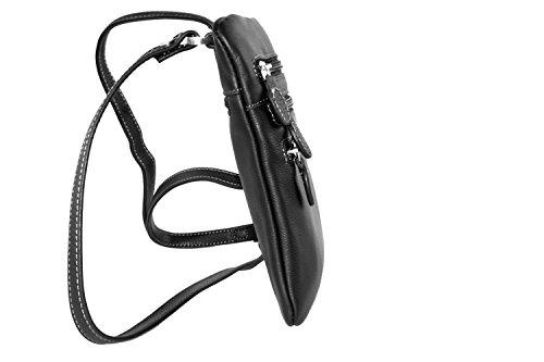 Mini Umgehängt Mann Pierre Cardin Schwarz Leder Tasche Platt Bandolier F520 J2Xzmz