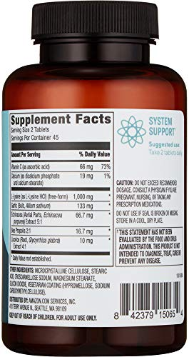 Amazon Brand Revly Lysine + C Complex, 90 Tablets, 45 Servings