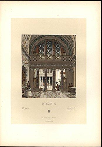 (Roman Extravagant Marble Entryway Mosaic Beauty c.1888 antique colorful print)