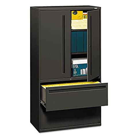 HON 785LSS 700 Series 36 by 19-1/4-Inch Lateral File with Storage Cabinet, Charcoal - Hinged Door Credenza