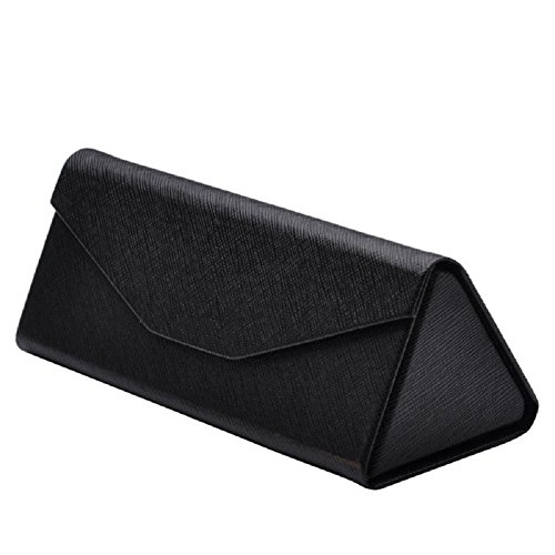 Qingsun Sunglasses Case Hard Carrying Protective Case Foldable Triangle Eyeglass Case Reading Glasses Shell Pouch with Cloth,Magnet - Sunglasses Case Foldable