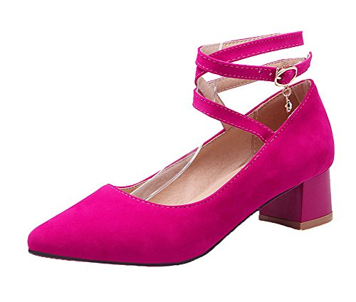 AllhqFashion Womens Kitten-Heels Solid Buckle Frosted Closed-Toe Pumps-Shoes Rosered K61WJnr
