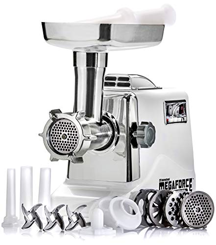 STX INTERNATIONAL STX-3000-MF Megaforce Patented Air Cooled Electric Meat Grinder with 3 Cutting Blades, 3 Grinding Plates, Kubbe and 3 Sausage Stuffing Tubes