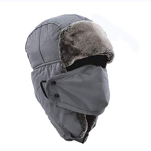 Nosterappou Sombrero del invierno de los hombres Sombrero grueso del algodón Comodidad cálida del invierno Protección del oído Máscara de la máscara del viento Ski de la nieve Piloto del esquí Casquil