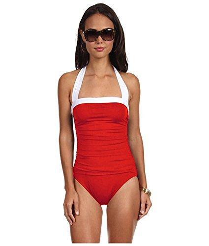 Lauren by Ralph Lauren Women's Bel Aire Solids Shirred Bandeau Mio Slimming Fit One-Piece, Bright Coral, 8