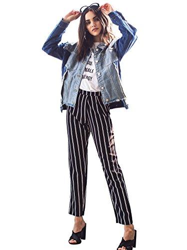 SweatyRocks Womens Striped Elastic High Waist Slim Fit Loose Casual Long Pants