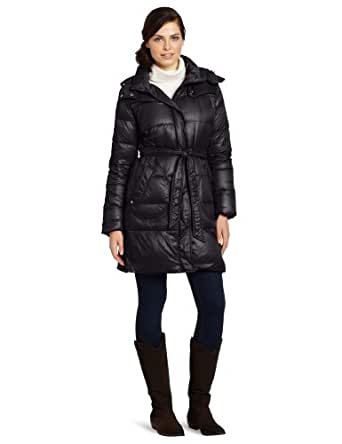 Calvin Klein Women's Belted Down Jacket, Black, X-Small