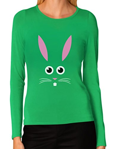 - Funny Easter Bunny Face - Best Gift for Easter Women Long Sleeve T-Shirt Small Green