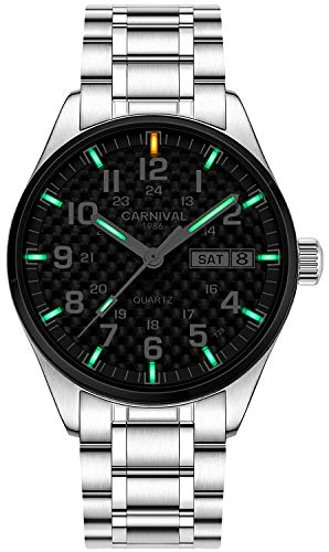 Men's Outdoor Military Tritium Super Bright Self Luminous Quartz Watch (D1- Carbon Fiber Dial Silver)