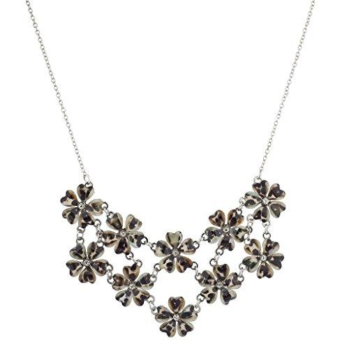 Lux Accessories Silvertone Leopard Print Flower Floral Mini Statement Necklace