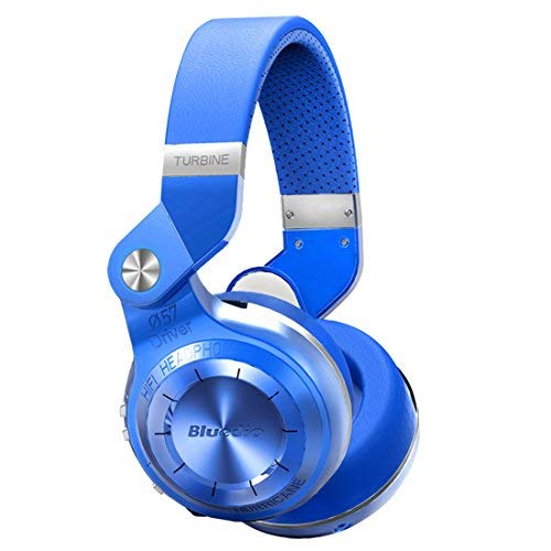 Bluedio T2 Plus Turbine Wireless Bluetooth Headphones with Mic/Micro SD Card Slot/FM Radio (Blue) ()