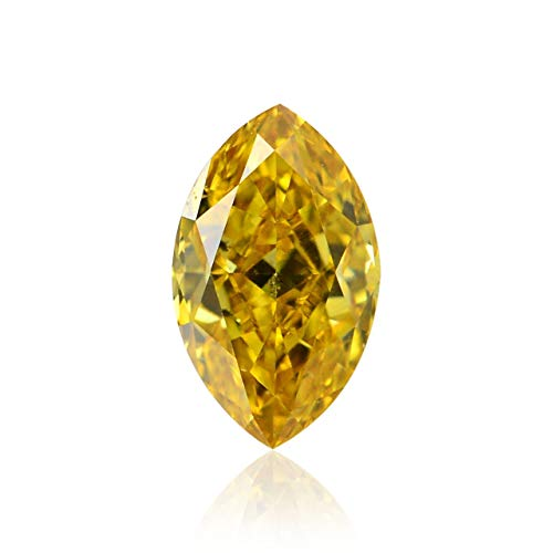 Leibish & Co 0.22Cts Fancy Vivid Orange Yellow Loose Diamond Natural Color Marquise Shape GIA