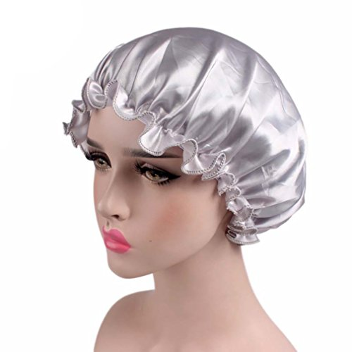 Satin Bonnet Sleep Cap Night Beanie Hat Head Cover for Women Curly Hair, Gray - Satin Hat Band