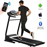 Aceshin Folding Electric Treadmill Incline Motorized Low Noise Running Machine with Smartphone APP Control for Home Gym Exercise