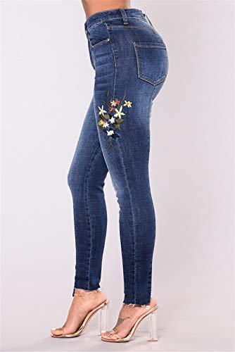 Jeans Donna 3xl Patchwork Vita Floreale 2xl Z Con Skinny A Size Da Pantaloni Stampa Plus baibao Blue Alta Lavata Fiori wI01FqnSX