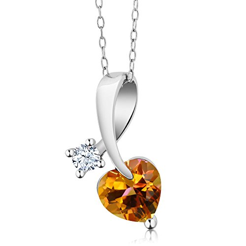Gem Stone King 1.41 Ct Heart Shape Twilight Orange Mystic Topaz 925 Sterling Silver Pendant