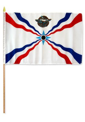 One Dozen Assyrian 12x18in Stick Flags.