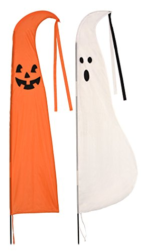 sheerlund products Halloween Swooper Flag Bundle of 2 Figures Ghost and Pumpkin 9 ft Tall Feather Flutter Garden Flags for $<!--$38.95-->