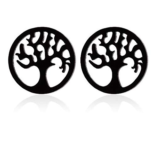 Shuangshuo Tree of Life Earrings for Women Hollow Tree Pattern Round Stud Earring Stainless Steel Jewelry