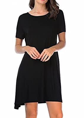 CPOKRTTWSO Women' s Casual Plain Tshirt Dress Plus Size Loose Swing Dresses