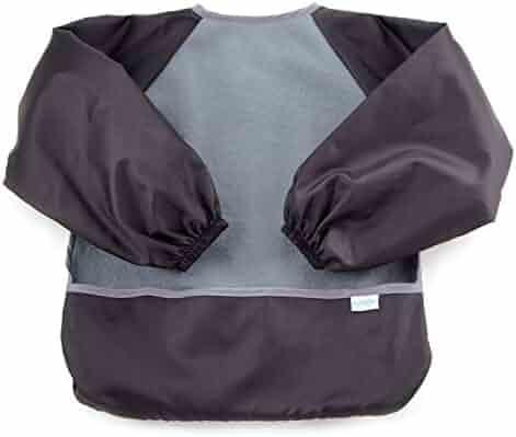 Bumkins Fleece-Front Sleeved Bib / Baby Bib / Toddler Bib / Art Crafts Smock, Waterproof, Washable, 6-24 Months – Gray