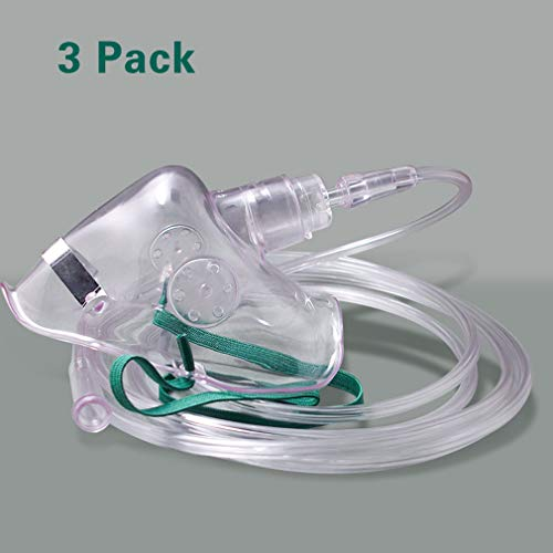 Adult Oxygen Mask with 6.6' Tubing - Soft - XL Size - 3 Pack