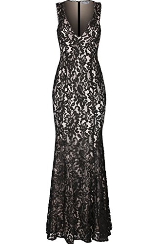 Absolute Rosy Women's Sleeveless Plunge Neck Lace Maxi Evening Party Dress Black (Ball Gowns For Tweens)
