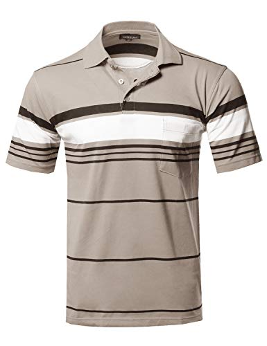 (Style by William Basic Everyday Stripe Chest Pocket Polo T-Shirt Khaki L)
