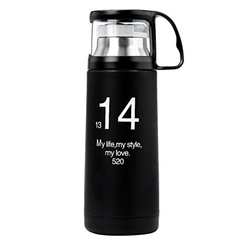 Water Bottle Odeer 350ML 1314 Couple Cup Stainless Steel Vacuum Creative Transparent Cover Vacuum 5 × 20cm (Color : Black)