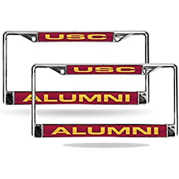 Southern Cal USC Trojans NCAA Red Mirrored Laser Cut License Plate Laser Tag