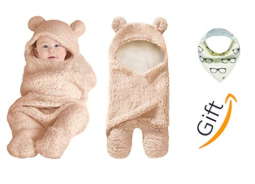 - Kiddytopia Premium Baby Swaddle Hooded Blanket for Newborn Babies Soft & Cute Multi-Functional for Receiving Sleeping & Wrapping Boy & Girl Unisex Brand with Baby Bandana bib Gift (Brown)