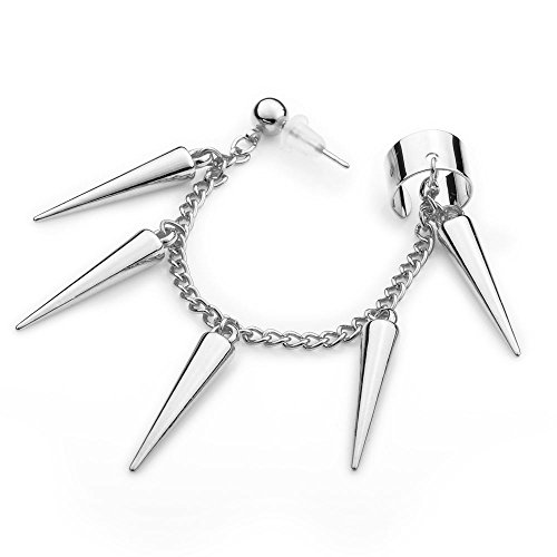 - Ashley Jeweller Silver Plated Studded Spike Fish Hook Earring to Ear Cuff Chain Set 1PC