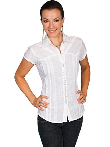Scully Women's Honey Creek Lace Cap Sleeve Top W/Flirty Snap Front White Blouse SM