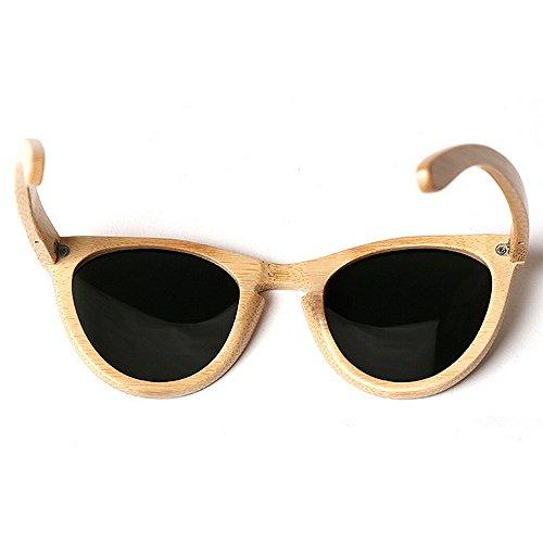 chat Couleur lunettes en soleil en soleil lunettes bambou les lunettes pour soleil de de la plage yeux hommes de bois Personnalité main UV protection Beige cadre à lunettes de conduite Beige soleil 7SCCdFw