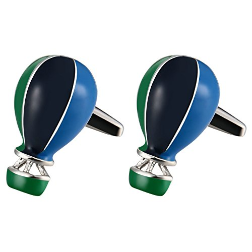 Mens Cufflinks Stainless Steel Hot Air Balloon Color 2.2X1.2CM Dad Unique Jewelry Box Fancy Elegant (Hot Air Balloon Cufflinks)