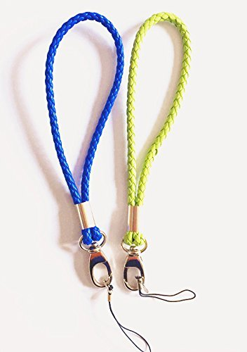 Braided PU Straps Hand Wrist Strap[2Pack] Leather Wrist Lanyard with J-Hook for Camera & Cell Phone & Purse& keychain-Charms Around Your Wrist—Assorted Different Color (Dark Blue/Green)