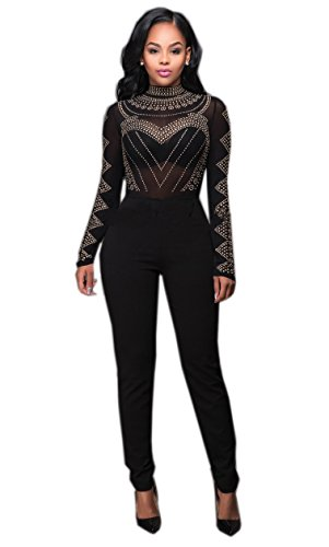 [Women Sexy Crewneck Long Sleeve Rhinestone Bodycon Clubwear Party Jumpsuit Rompers] (Sexy Jumpsuits For Women)